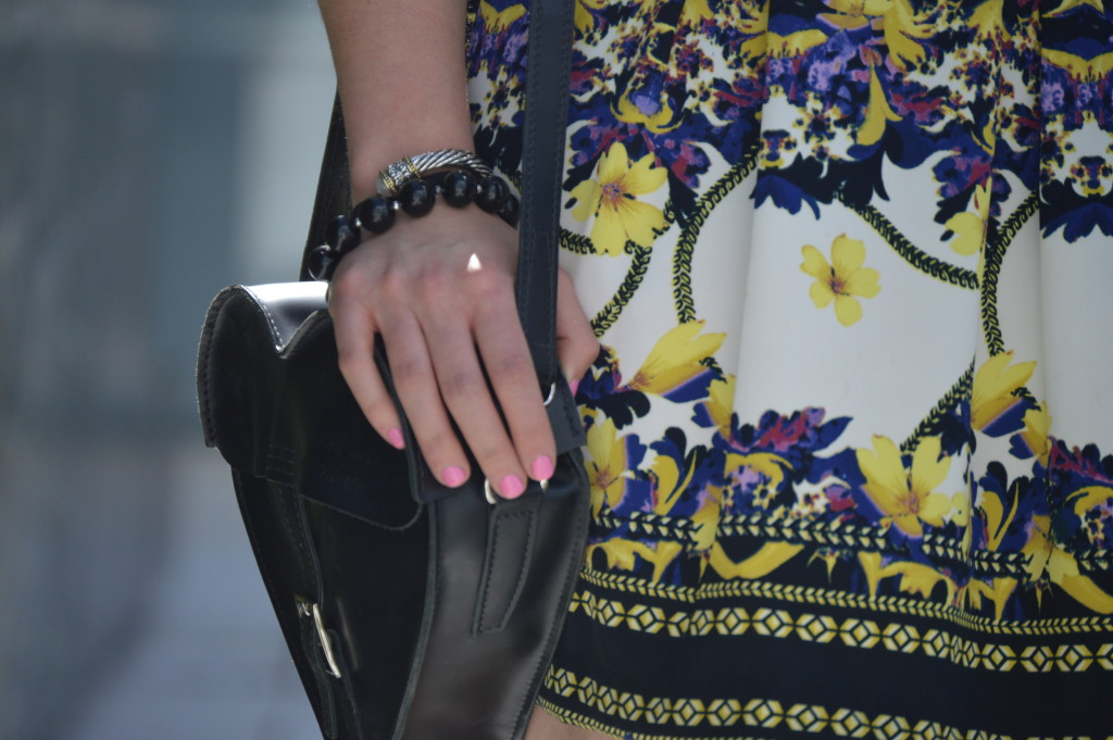 Floral Dress and Dr. Martens Black Heart Satchel