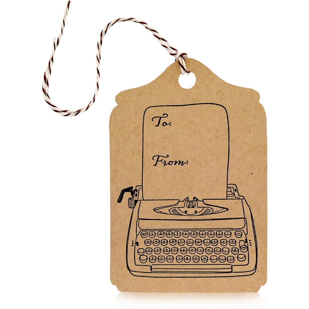 typewriter gift tag