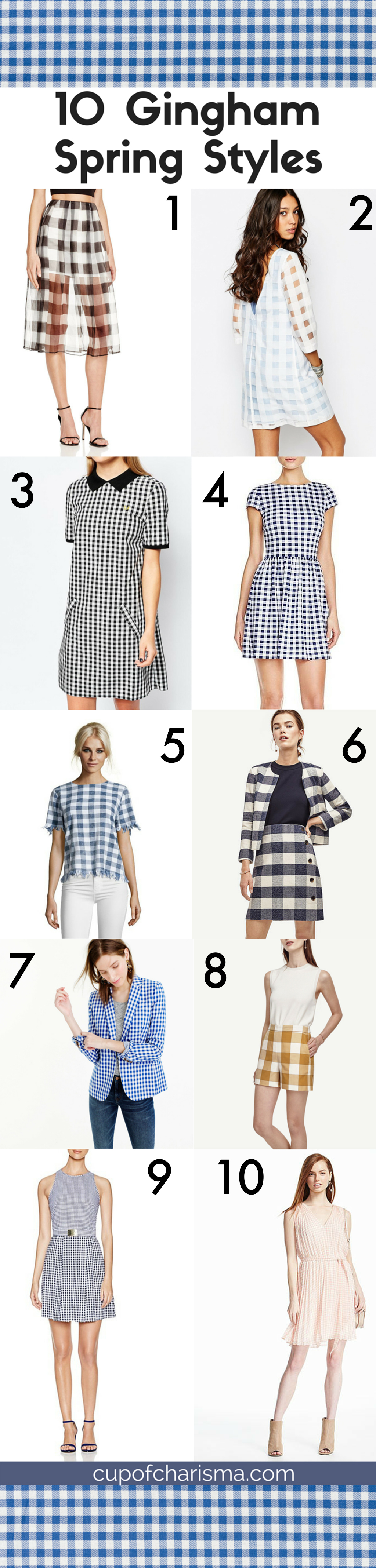 Gingham is one of the top spring trends, so here's a definitive list of the top 10 gingham pieces to add to your closet.