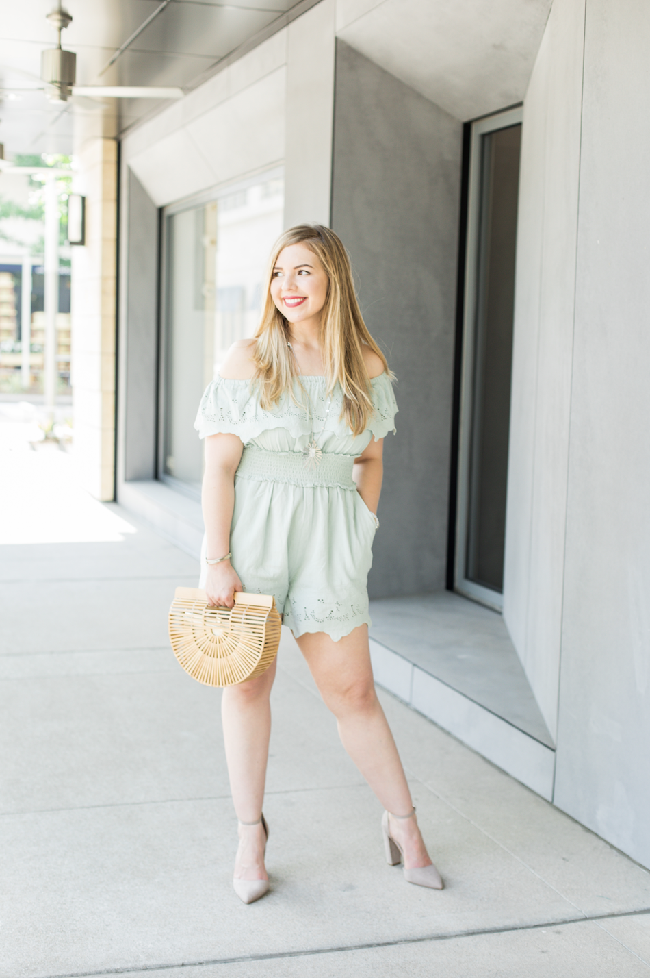 Mint Zara Romper and Cult Gaia Arc Bag