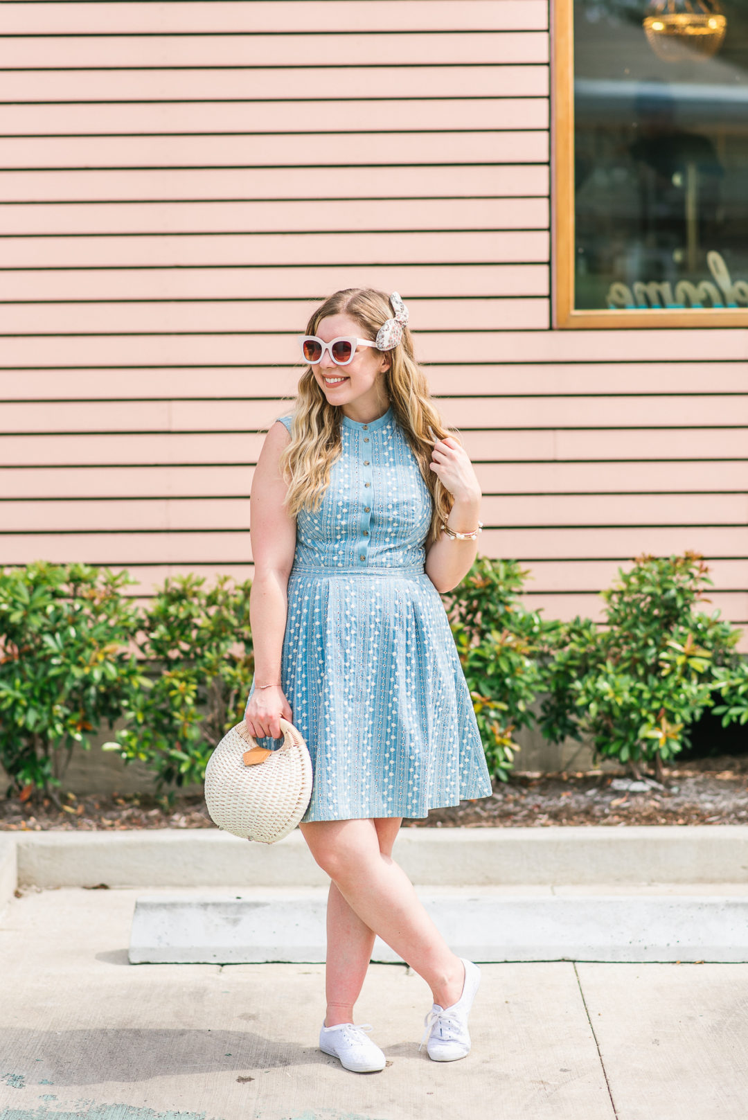 Jillian Goltzman of Cup of Charisma Wearing Gal Meets Glam Blue Quinn Embroidered Chambray Fit & Flare Dress