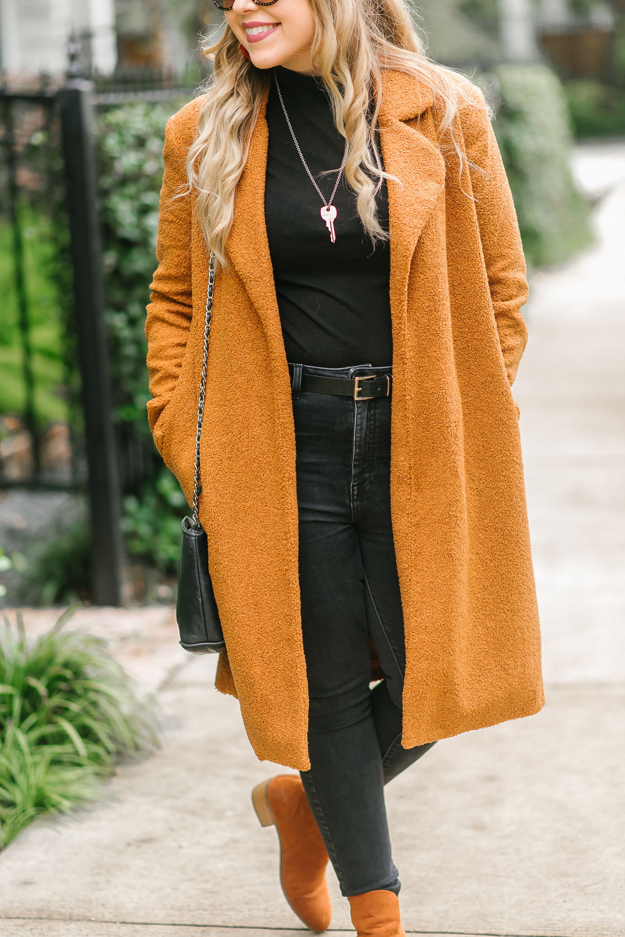 How to Style Brown Teddy Coat and Black Jeans - Fall Fashion on Cup of Charisma