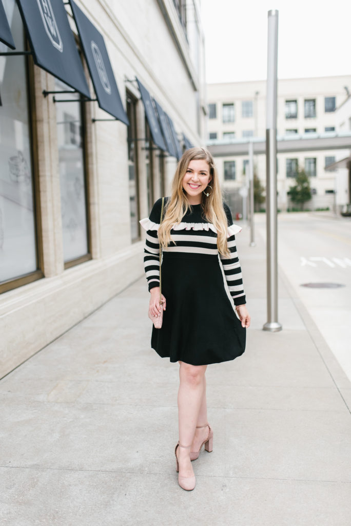 2019 Goals and 2018 Reflections on Cup of Charisma - Striped Preppy Sweater Ruffle Dress and Gucci Marmont Bag