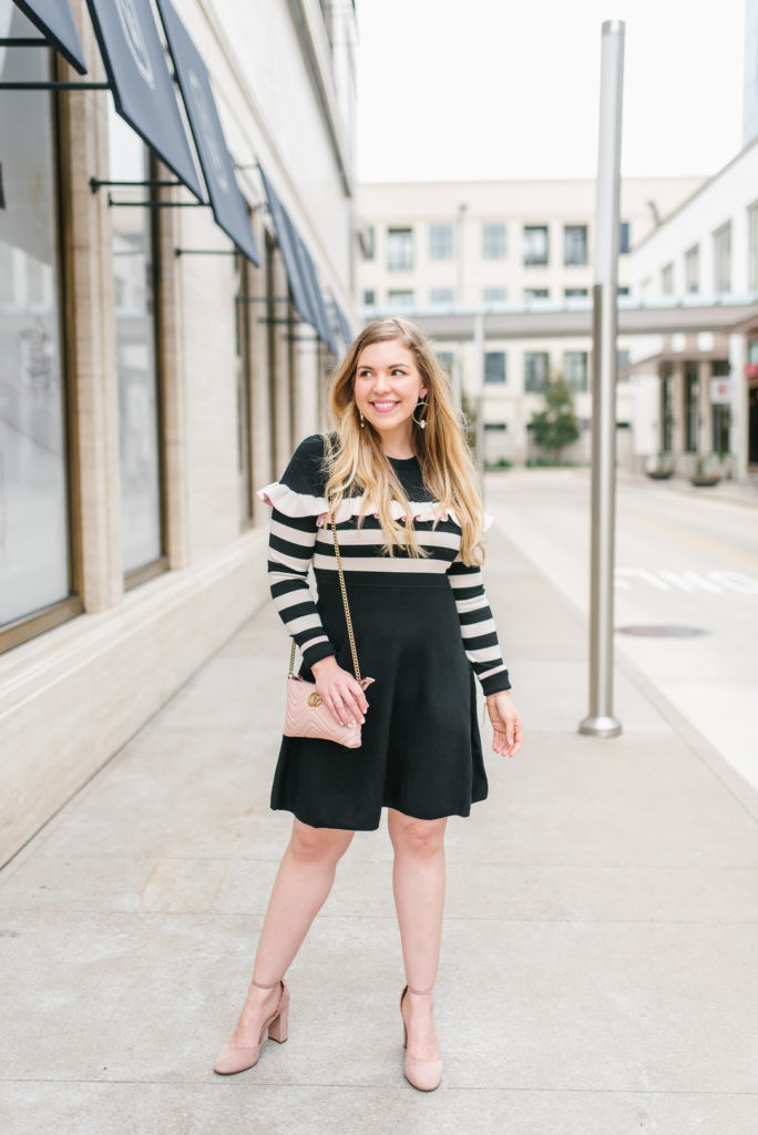 2019 Goals and 2018 Reflections - Striped Preppy Sweater Ruffle Dress and Gucci Marmont Bag 7