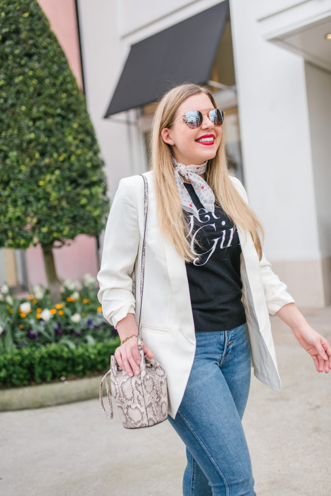 Feminist Fashion - 7 Ways to Support Women - Cup of Charisma - White Blazer and Get it Girl Shirt