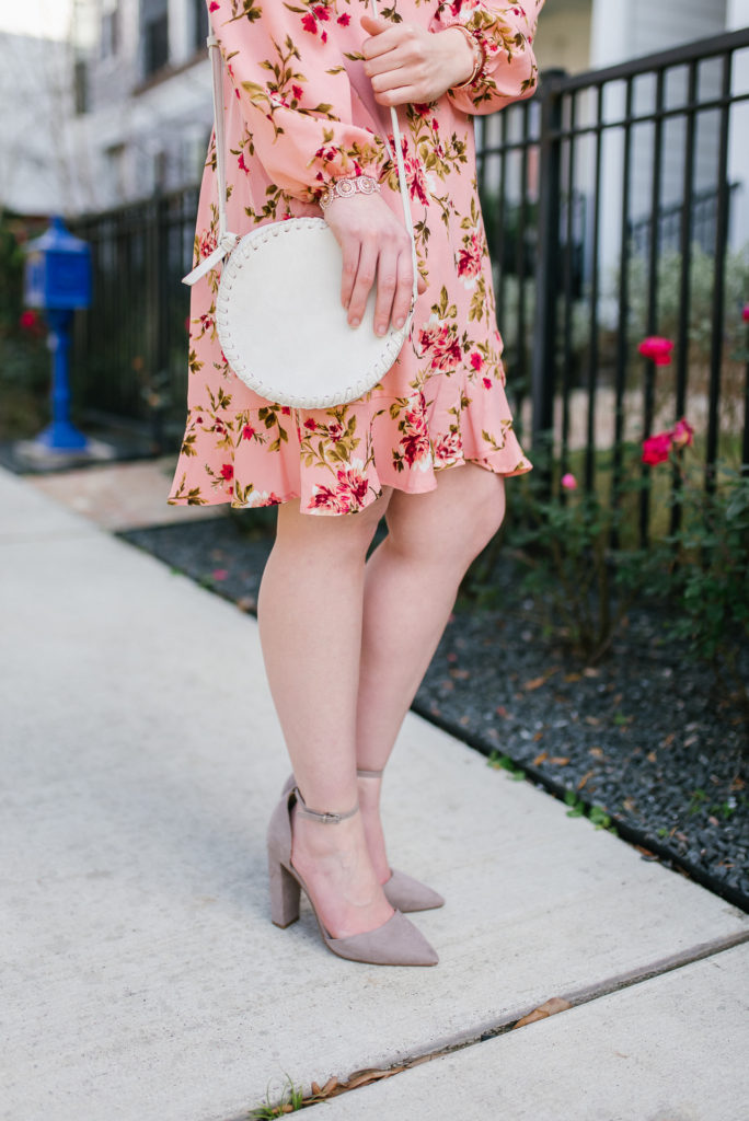 Pink Long Sleeve Floral Dress on Cup of Charisma, Houston lifestyle blog's roundup of the best floral dresses under $50.